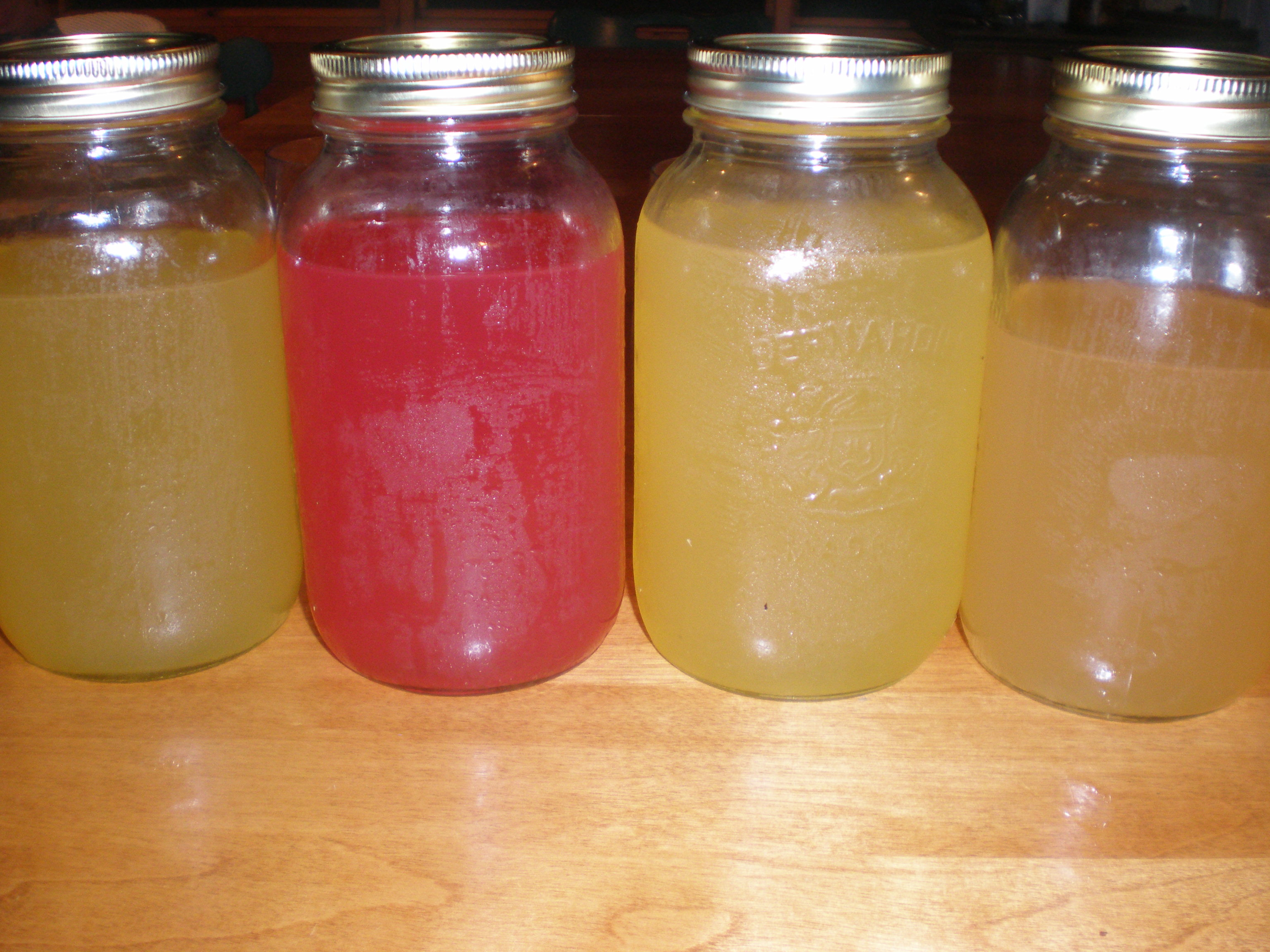 Four Flavours of Mead: plain, blueberry, honey ginger, and peach