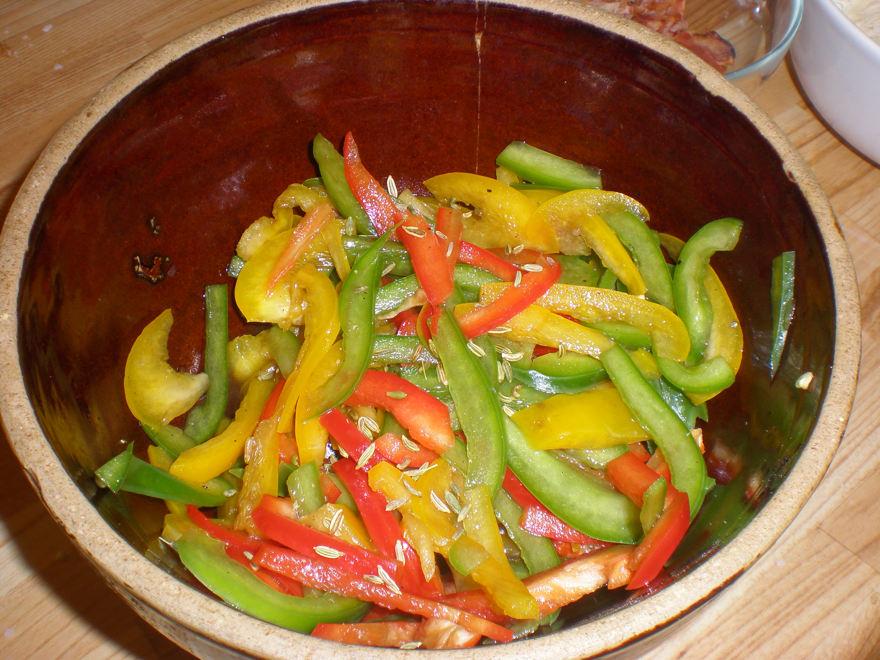 Marinated peppers ready to top a pizza