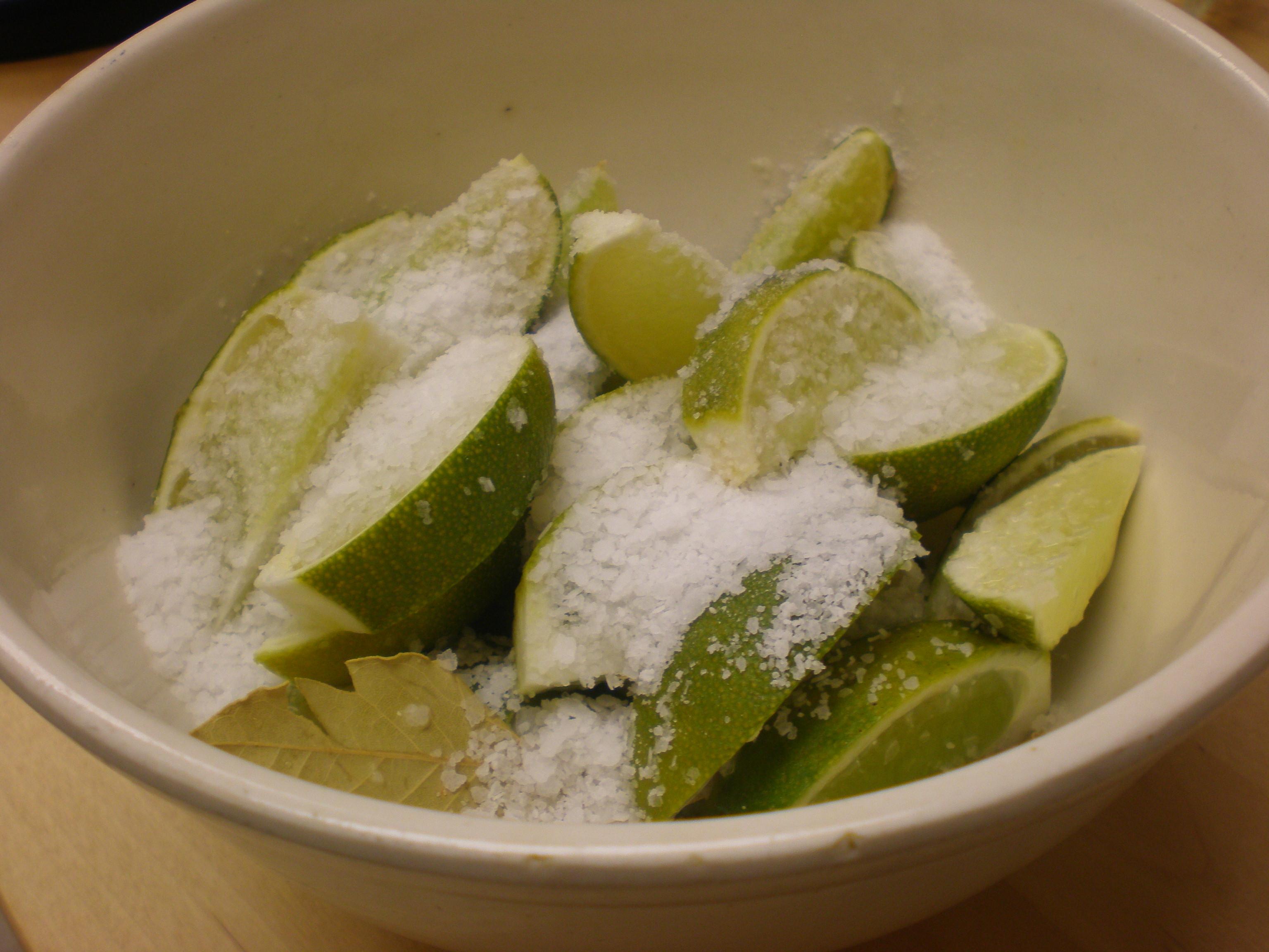 Limes tossed with kosher salt