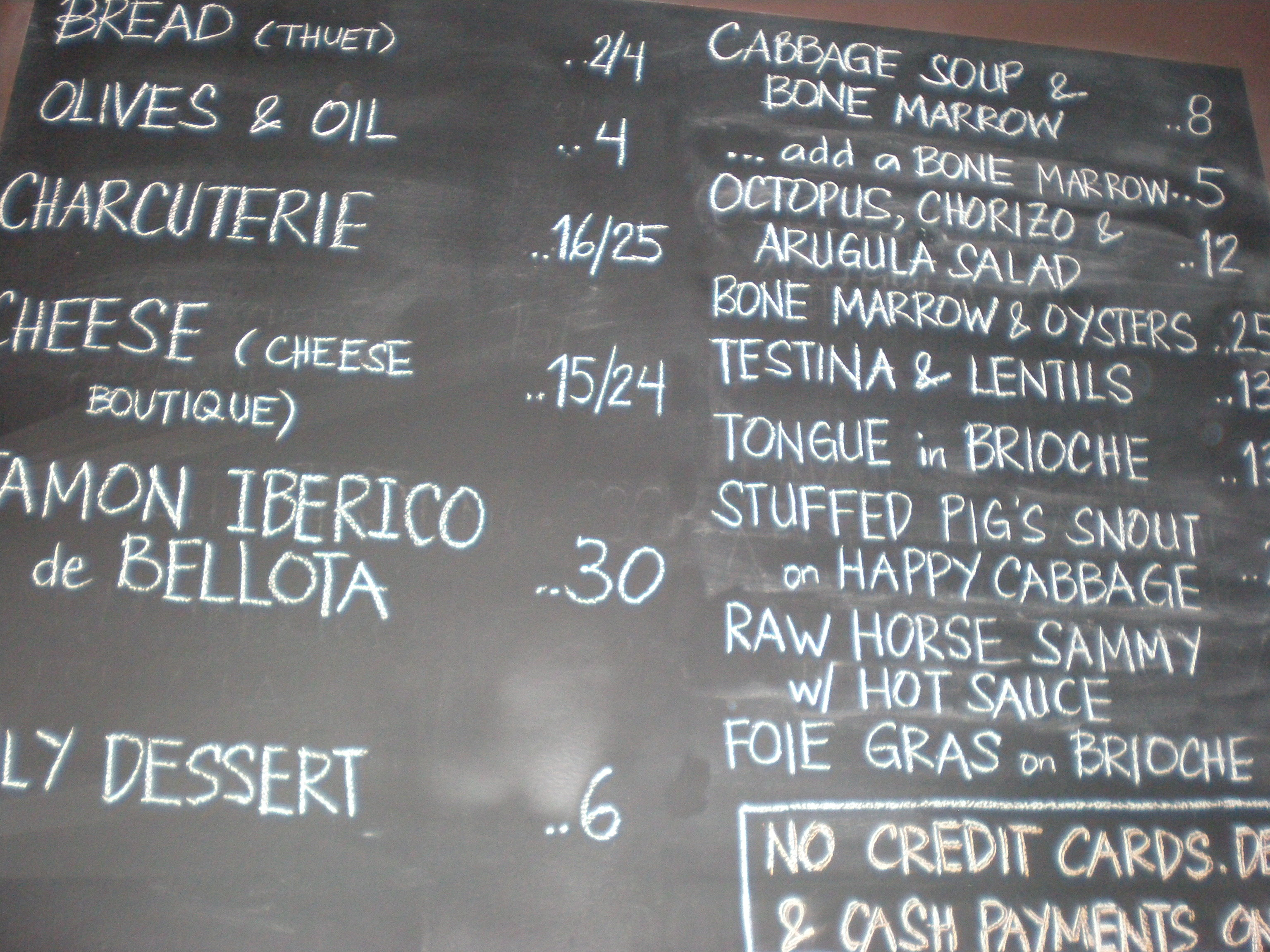 The chalkboard menu